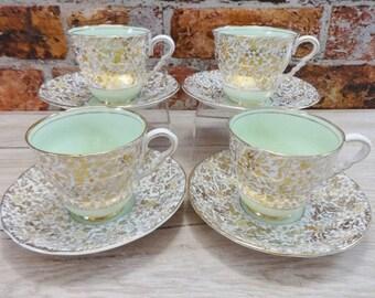 4 Pastel Green gold floral cups & saucers vintage