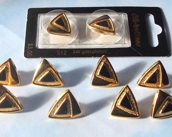 Set of 10  Black and Gold Metal Buttons- (24K gold plated)-( 3/4 inch)-Item# 161