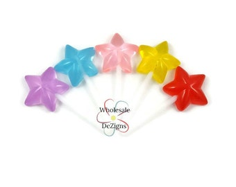 Star Lollipop Stick Resins Lollipops Sucker Cabochons Aqua Red Pink Yellow Lavender Flat Back Acrylic DIY Hair Bow Decoration 2.5""
