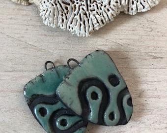 Raku ceramic pendants