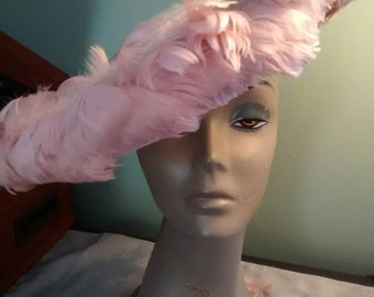 Fabulous Pink Cartwheel Hat with Feathers