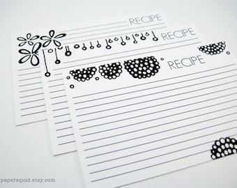 4x6 inch Recipe Cards Printable DIY - 3 Designs - Color Version and Black & White -  INSTANT DOWNLOAD - Item 122