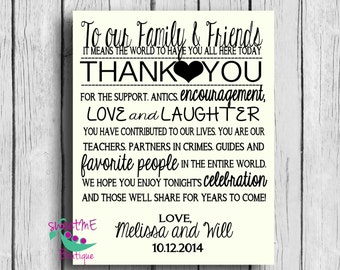 Wedding Thank You Poster, Wedding Ceremony sign, Reception Thank You Sign, DIY Wedding,