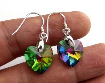 s925 Sterling Silver Handmade Drop Dangle Earrings 14mm AB Colored Heart Shaped Crystal