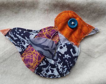 Put a bird on it patch, upcycled fabric with button eye