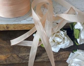 light pink ,champagne, ,small silk ribbon, vintage like silk ribbon, small, simple, elegant ,wedding diy decor farmhouse,romantic