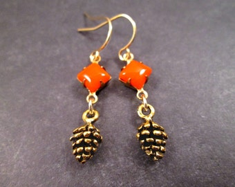 Pine Cone Earrings, Orange Glass Stones and Antiqued Gold Pinecones, Dangle Earrings, FREE Shipping U.S.