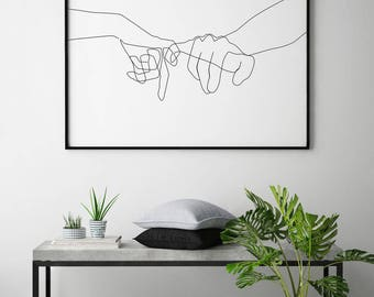 Pinky Swear Printable, One Line Drawing Print, Black White Hands Artwork, Hand Poster, Original Minimalist Couple Art, Minimal Fine Decor.
