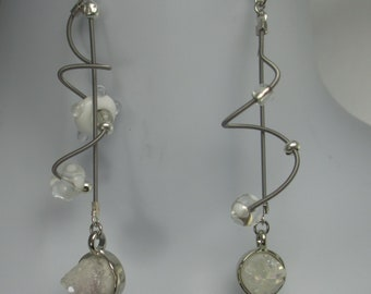 Drew,silver guitar strings, handmade glass beads, faux white drusy , dangle earrings.  sculptural, handmade, contemporary. steampunk