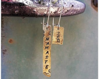 Namaste Zen Upcycled Brass Bullet Earrings - Peace - The 100 Day Project - Boho Charms - Bullet Jewelry - Yoga - Mothers Day - Ready to Ship
