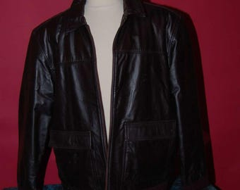 vintage dark brown leather mens jacket size XL by cherokee great condition