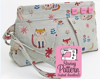 Pleated Wristlet PDF Sewing Pattern   Wristlet Clutch Handbag Purse Sewing PDF Pattern