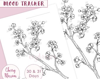 Hand-Drawn CHERRY BLOSSOM Mood Tracker Printable Page   Bulletjournal Printables for Spring, Journaling & Coloring, A5 Planner Pages Digital