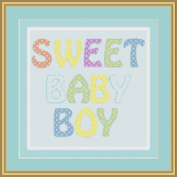 Sweet Baby Boy Cross Stitch Pattern /Digital PDF Files /Instant downloadable