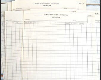 Vintage Paper Pack - Specification Papers - Customer Order Ledger Paper
