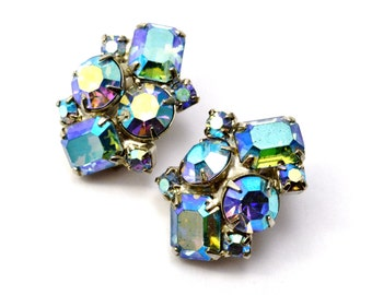 Vintage AB ice blue rhinestone cluster clip on earrings