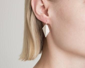 Geometric hook earrings, dangle earrings, handmade earrings, long earrings, edgy earrings, rough earrings, gift for her, silver earrings