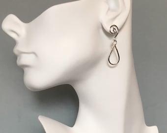 Spiral post top teardrop earrings, small