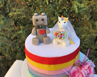 Custom wedding cake topper, unicorn and robot cake topper, bride and groom cake topper, unicorn wedding cake topper, rainbow wedding