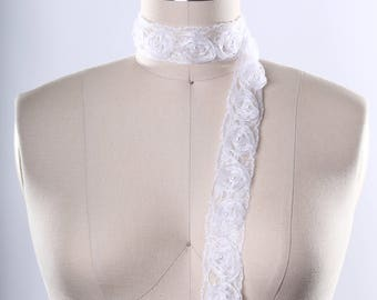 3D Polyester White Flower Trim with Pearl Centered. Stylish Design/ Twirled Flower Design/ DIY/ Crafting/ Costumes/ Decor