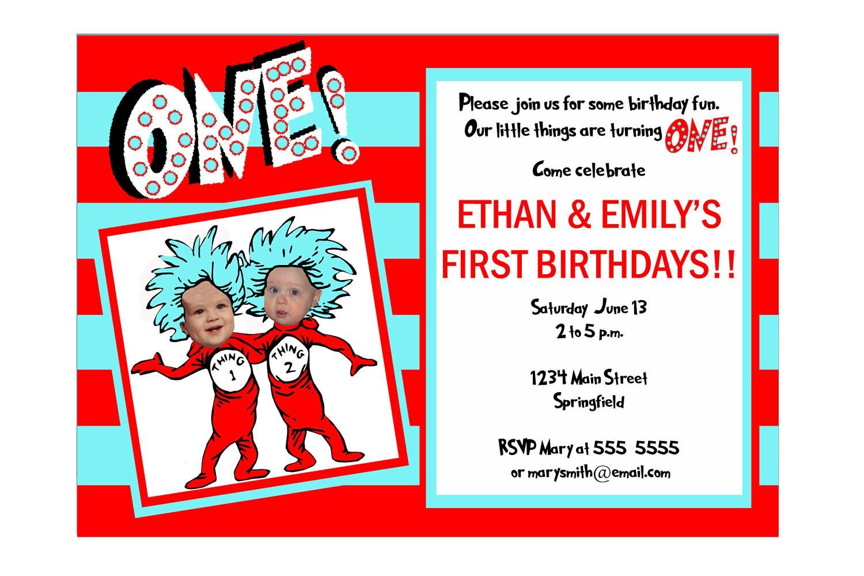 Twins Birthday Invitation Dr. Seuss Thing 1 Thing 2