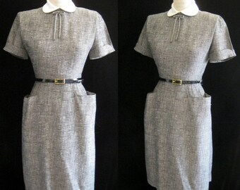 Sale!! Vintage 50s SHEATH Wiggle DRESS Bombshell Secretay Style with POCKETS Bust:37 ""