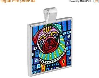 Pug Dog Folk Art Jewelry - Pugs Pendant Metal  Gift Art Heather Galler Gift - Dog Lovers Pet Art Vegan Gifts