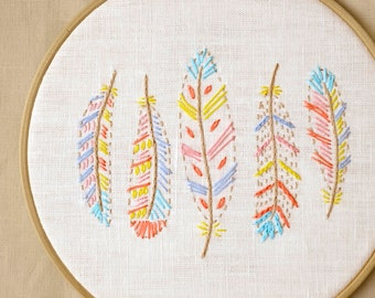 Hand embroidery patterns, Digital Download PDF, feathers, 9 inch embroidery hoop art, beginner embroidery pattern / NaiveNeedle