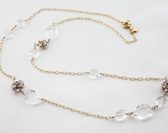 Vintade J.CREW Signed Gold Tone Chain Clear Crystals White Rhinestone Ball Beaded Necklace