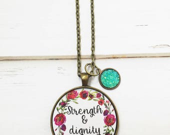 She is Clothed With Strength and Dignity Necklace,Proverbs 31 Pendant,Bible Verse Scripture Pendant,Best Friend Necklace,Wife Birthday Gift