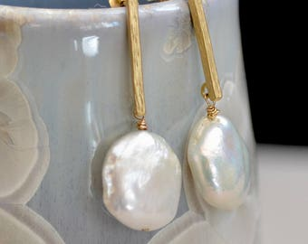 White Pearl Gold Earrings. Extra Large Baroque  Pearl Earrings. Fresh Water Peal Coin Gold Posts. June Birthstone. Wedding Jewelry.