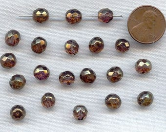 50 Vintage Glass Bronze 8mm. Faceted Round Beads 225a