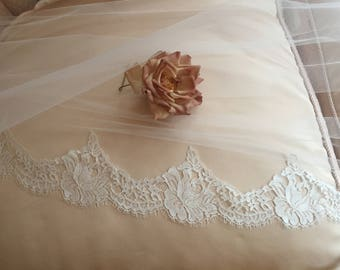 """Authentic French Chantilly Lace Motif on Illusion Tulle, Sample, 4"""" Motif -  Silk White or Ivory also Lace By Yard"""