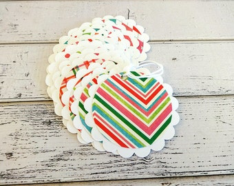 Gift Tags, Gift Tag Set, Birthday Gift Tags, Tags, Circle Tags, Paper Tags, Hanging Tags, Set of 12 Large Scallop Gift Tags, Party Tags