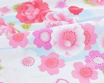 Pink floral kimono Japanese fabric background ecru x 50cm
