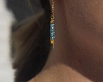 Blue Topaz faceted gemstone threader Earrings, threader earring, gemstone threader