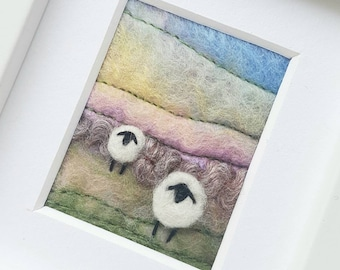 Felted sheep landscape scene - Miniature textile art created in Felting and Embroidery - an original fiber art gift for a sheep fan