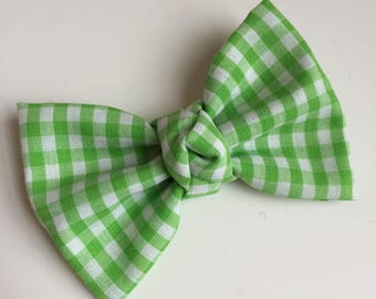 Fabric Bow, Baby Headband, Green Gingham Bow, Spring Bow