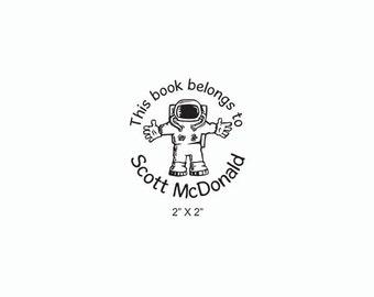 Astronaut Cute Cartoon Custom Ex Libris Bookplate Rubber Stamp O02