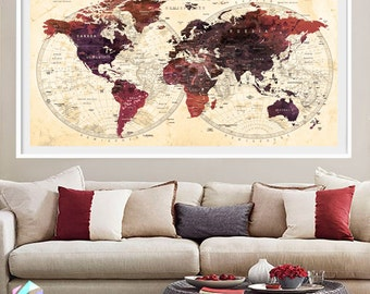 Xl world map etsy xl push pin world map travel cities art print poster photo paper watercolor wall decor home gumiabroncs Images