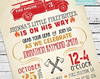 Vintage Firefighter Baby Shower Invitation