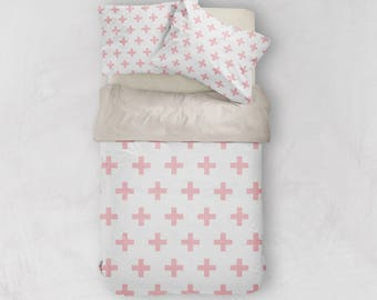 Pink Duvet Cover, Scandinavian Bedding, Swiss Cross Decor, Doona Cover, Duvet Cover Queen, King Duvet Cover Set, Twin Duvet Cover, Doona