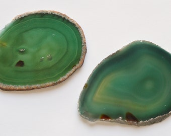 2 Large Green Agate Crystal Quartz Natural Geode Mineral Rock Stone Slice