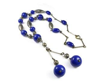 Art Deco Blue Glass Lavaliere Necklace, Silver Beads, Cobalt Blue, Glass Beads, Pierced Beads, Sautoir Necklace, Flapper Necklace