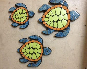 Sea turtles, turtles, garden decor, garden statues, tile mosaic, mosaic, fence ornaments, backyard art