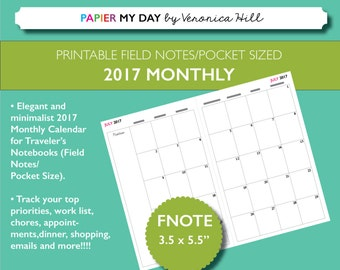 Field Notes Size Monthly 2017 Calendar - Printable 2017 Monthly and Undated Monthly  Calendar for Field Notes and Pocket Travelers Notebooks