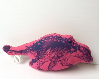 Violet and Pink Floral Euoplocephalus Hard-headed Vegetarian Dinosaur Stuffie Backed with Dinosaur Print Fabric