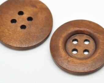 "Reddish Brown 4 Holes Round Wood Sewing Buttons for Sweater Overcoat Clothing - 1 3/8"" Dia - Pack of 2"