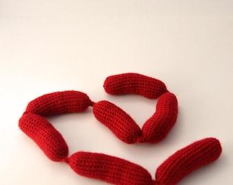 Sausage Chain Crochet Pattern, Sausage Chain Amigurumi, Sausage Crochet Pattern, Sausage Amigurumi, Toy Food Crochet Pattern, Food Amigurumi