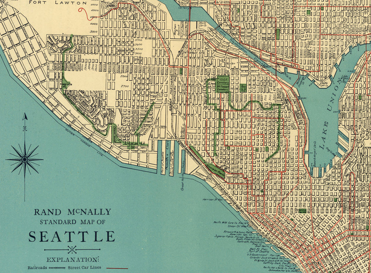 North America Map Seattle%0A Vintage     s Seattle STREET MAP City of Seattle
